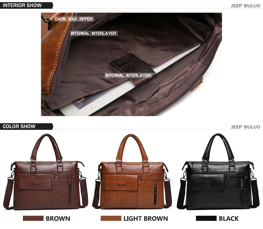 HTB15AwSeECF3KVjSZJnq6znHFXaQ Famous Designer JEEP BULUO Brands Men Business Briefcase PU Leather Shoulder Bags For 13 Inch Laptop Bag big Travel Handbag 6013