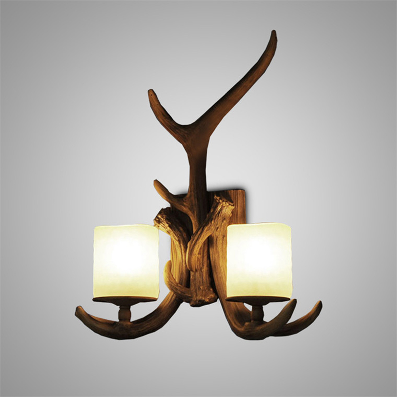 Resin Double Antlers Lights <font><b>Wall</b></font> <font><b>Sconces</b></font> Creative Country Retro Metal <font><b>Wall</b></font> Light For Balcony Hallway Lighting Fixtures Lamp W204