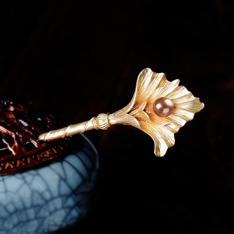 Retro Ginkgo Leaves Hair Sticks Jewelry Simulado Pearl Leaves - Bisutería - foto 3