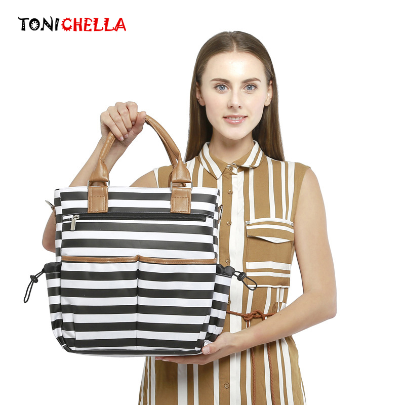 Baby Diaper Bag Mummy Maternity Tote Nappy Large Capacity Mother Handbags Fashion Waterproof Infant Stroller Striped Bags CL5352