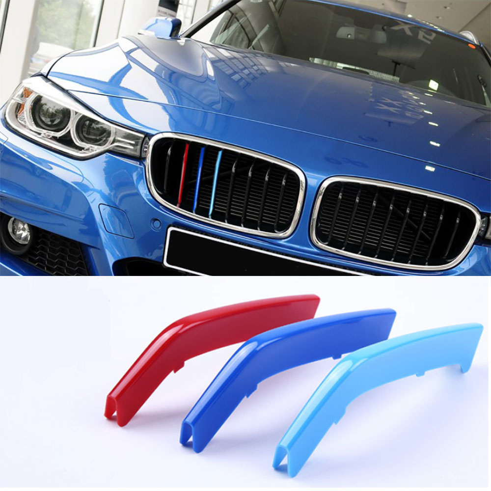 For BMW 3 Series (2013~2015 & 8 Beams) Front Grille 3D Decals Strip Clip Trim High Performance Accessories Car-Styling Parts