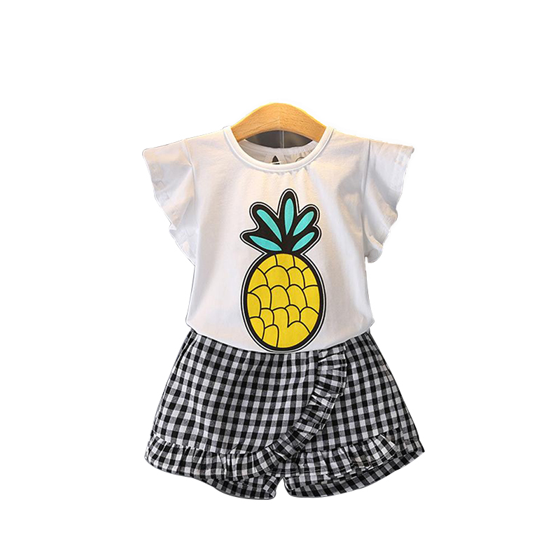 2018 Summer O-Neck Sleeveless Toddler Girl Pineapple Tops Lattice Pants Girls Suit 2Pcs Kids Clothes Children Clothing Sets new 2017 summer baby girls sets fashion children floral sleeveless pullover pants 2 pieces clothes casual o neck polka dot suit
