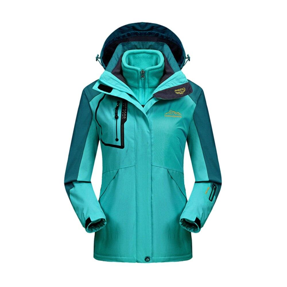 2017 Women's Winter 2 pieces Softshell Fleece Jackets Outdoor Sports Waterproof Thermal Hiking Skiing Female Coats Sport Wear стоимость