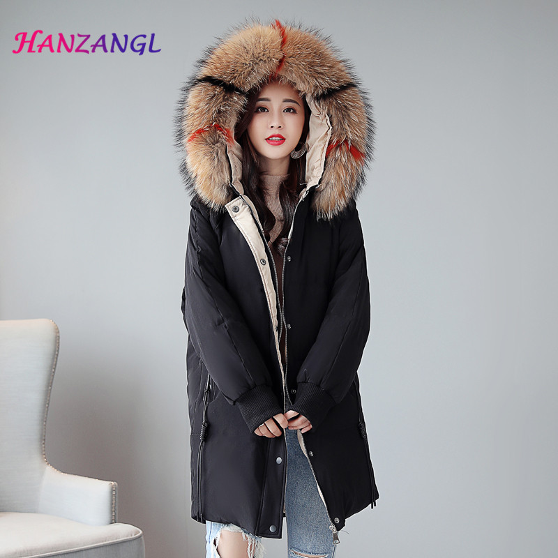 Women's   Down   Jacket 2018 Winter Real White Duck   Down     Coat   Large Raccoon Fur Collar Hooded Parkas Overcoat Plus Size S-5XL