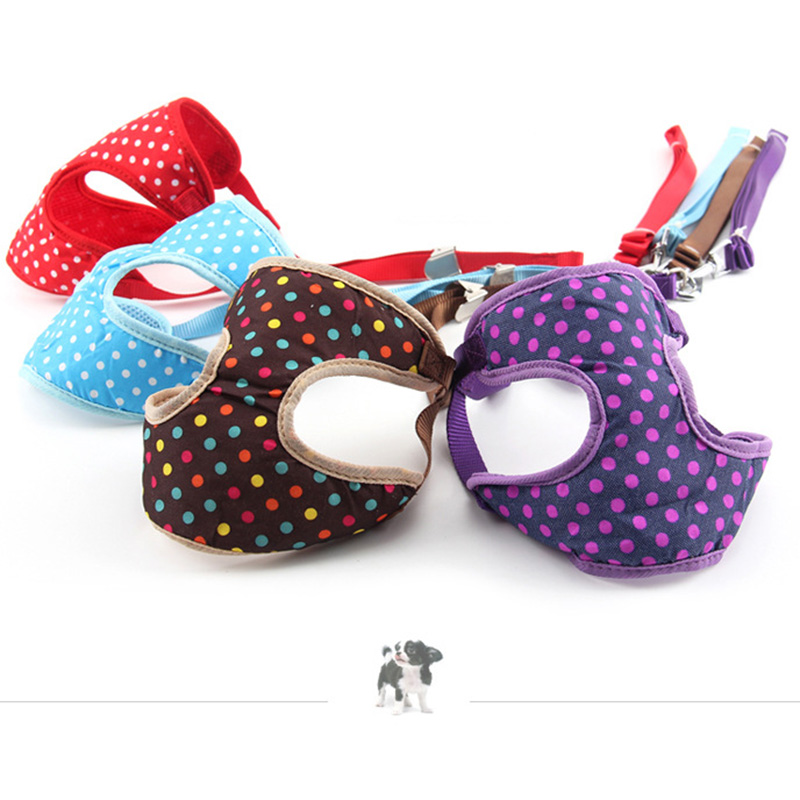 Breathable Mesh Dog Harness Dogs Vest Soft Colorful Dot Leash Pet Supplies Chihuahua Yorkshire Nylon Walking Leading Doggyzstyle Dog Collars & Leads