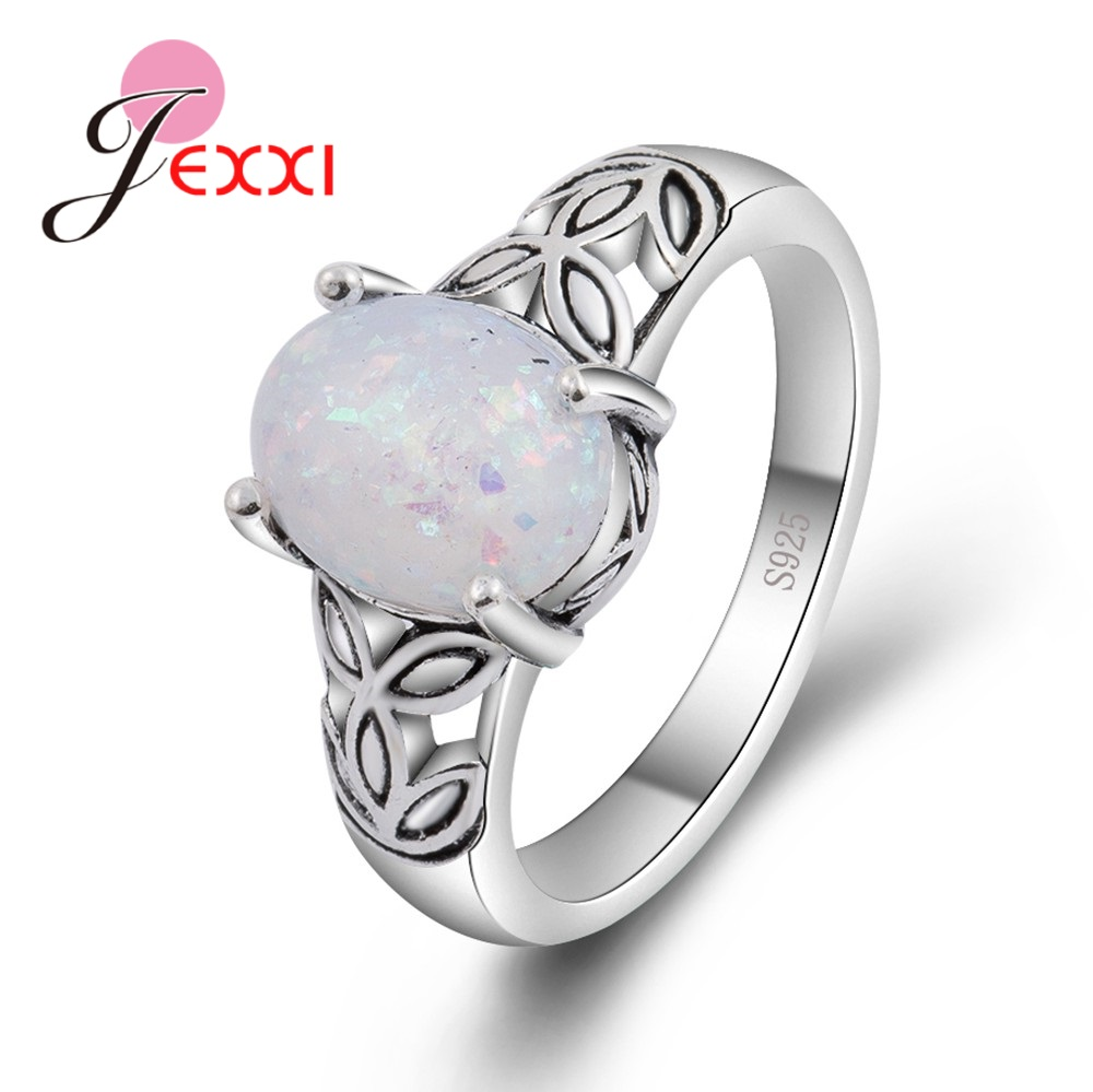 JEXXI 100% 925 Sterling Silver Leaves Antique Band Rings Jewelry for Women Wedding Prong Setting Good Quality Opal Stone Design