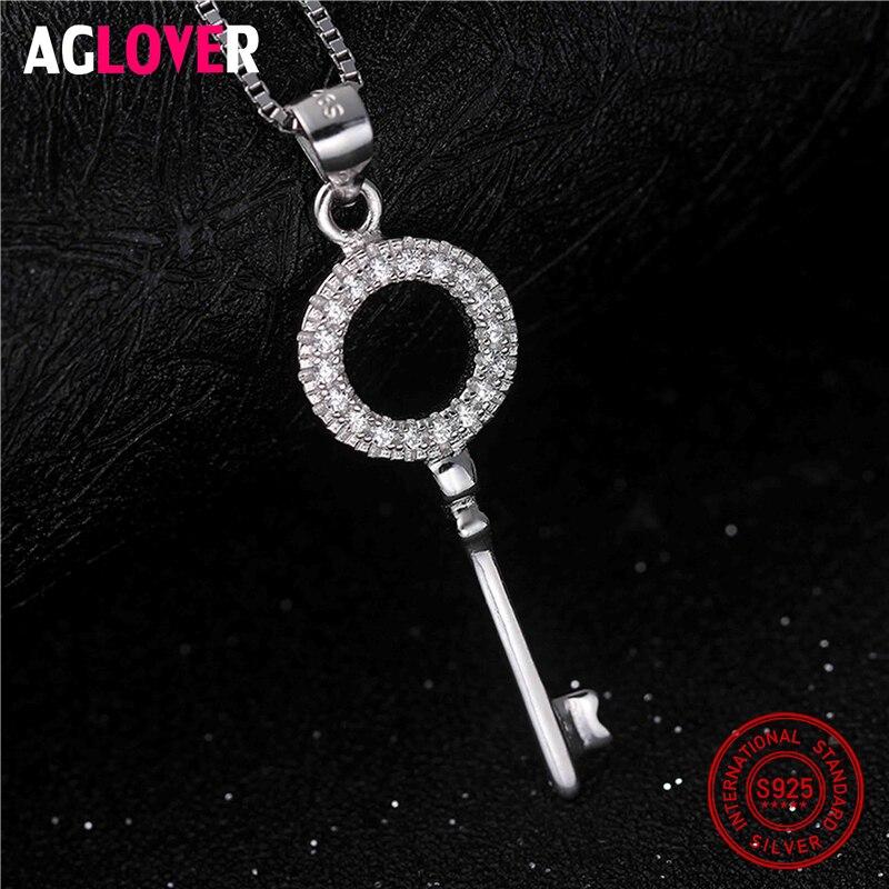 925 Silver Vintage Fashion Statement Necklaces For Women 2018 New Brand Jewelry Zircon Rhinestone Key Charms Pendants Necklace in Necklaces from Jewelry Accessories