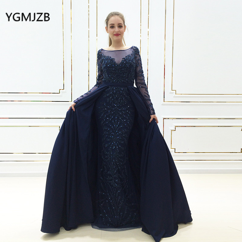 Real Photo Robe De Soiree Long Sleeves Luxury Evening Dress 2018 Marmaid  Beads Crystal Women Arabic Formal Party Gown Prom Dress 2425f58b3ce7