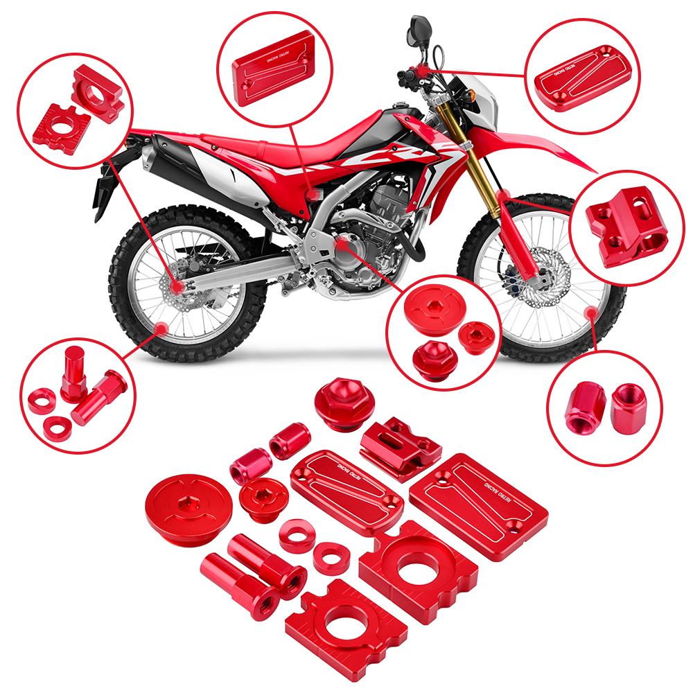 NICECNC CNC Billet Kit Oil Filler Plugs Axle block Engine Plugs Brake Reservoir Cover For Honda CRF250L CRF250M 2012-2017 nicecnc cnc billet kit brake reservoir