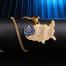 Iced Out Bling Map Pendant & Necklace 316L Stainless Steel For Men HIP Hop Jewelry Chain Gold Color Dropshipping xukim jewelry silver gold color cubic zirconia iced out paw dog cat claw pendant necklace hip hop jewelry