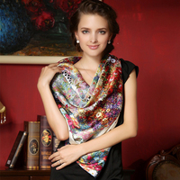 110 110 Large Size Square Silk Scarf Women Elegant Air Conditioner Shawl High Quality 100 Mulberry