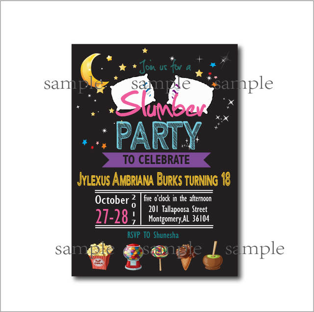 Placeholder 20 Pcs Lot Slumber Party Invitations Pajama Sleepover Invites Adult 18th Birthday Kids Baby