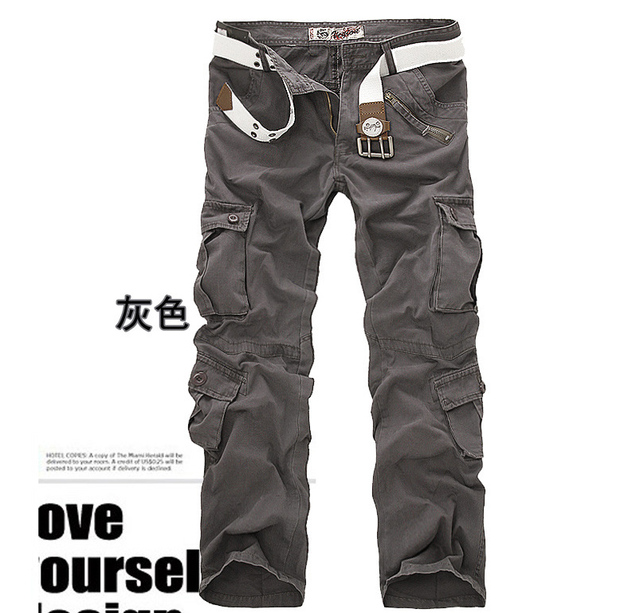 men's pants camping hiking Camouflage Cargo Pants Plus Size Multi-pocket Overalls Trousers 2