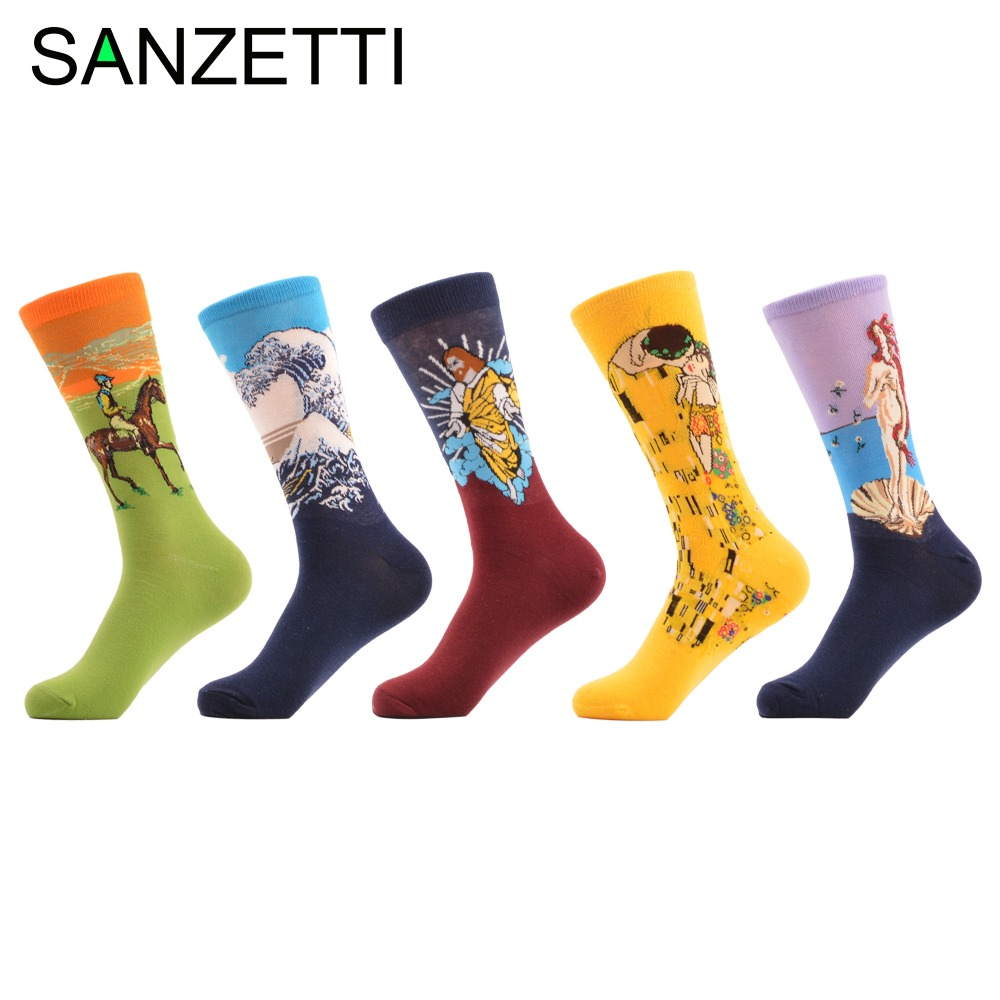 SANZETTI 5 pairs/lot Funky Combed Cotton Socks For Men Funny Yellow Green Casual Socks Autumn Winter crew Socks For Gift