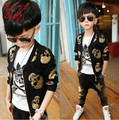 Hot sale baby boys long sleeve black bronzing skull jacket gold star trouser set fashion spring childrens casual clothes 16D1224