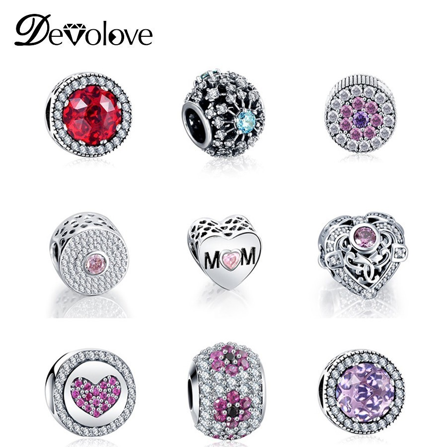 Dropshipping Sparkling Beads Charms with Clear CZ Fit Original Pandora Bracelets DIY Charms Jewelry for Women Gifts