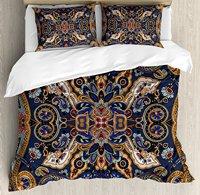Paisley Duvet Cover Set, Historical Moroccan Florets with Slavic Effects Heritage Design, 4 Piece Bedding Set