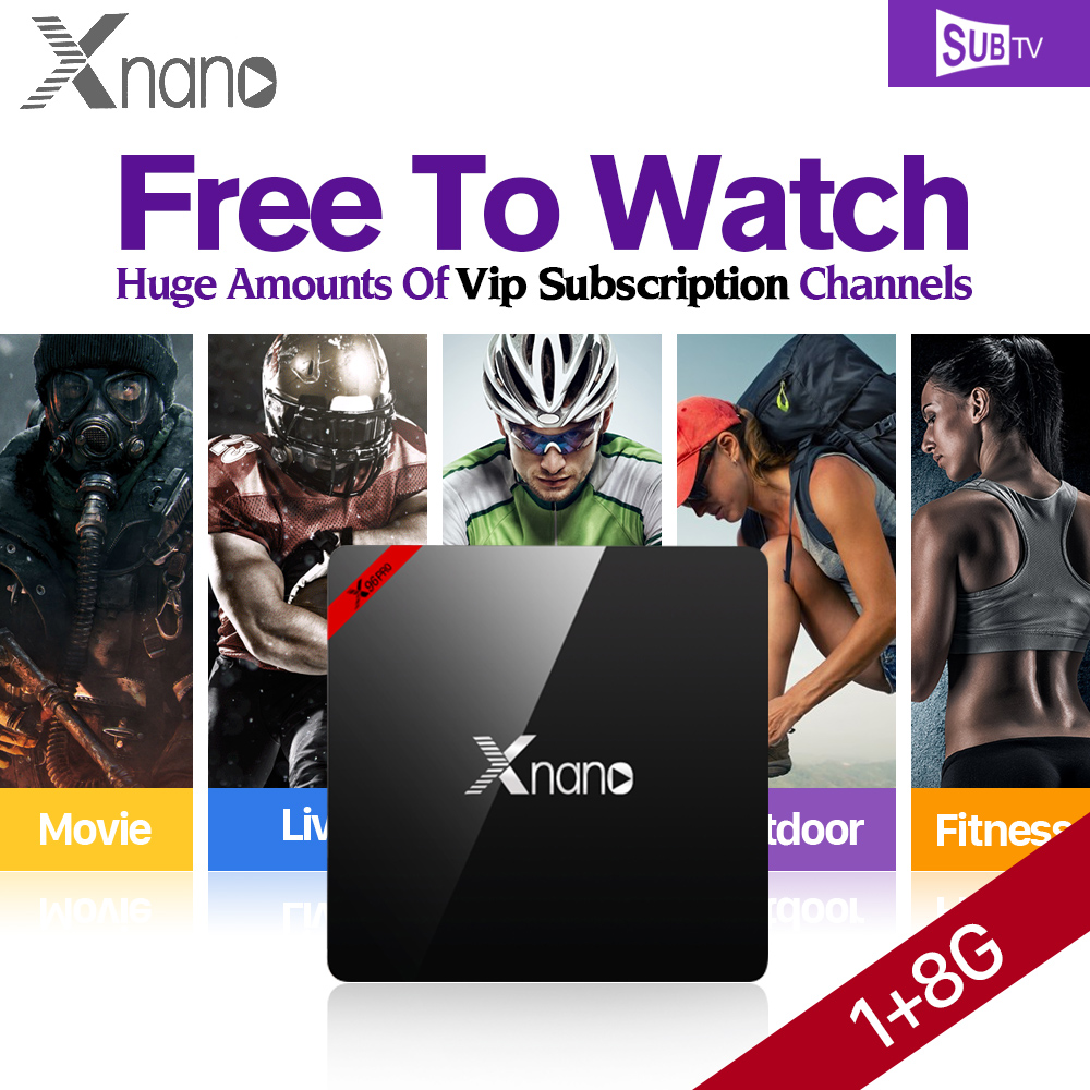 Original Xnano Android 6.0 Smart TV Box 1GB S905X Quad Core + IPTV 1 Year SUBTV Code Brasil Channels Europe Arabic IPTV Top Box