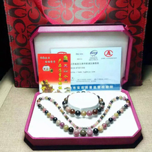 Joursnege ensemble de bijoux en Tourmaline naturelle, multicolore, Vintage, collier de perles de tour de 4 à 9mm, pour femmes