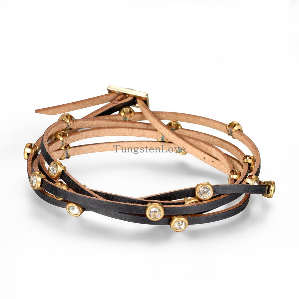 2015 Fashion Rhinestone Leather Bracelets Multilayer Winding Leather Women Bracelet Vintage ladies Gifts Brown color