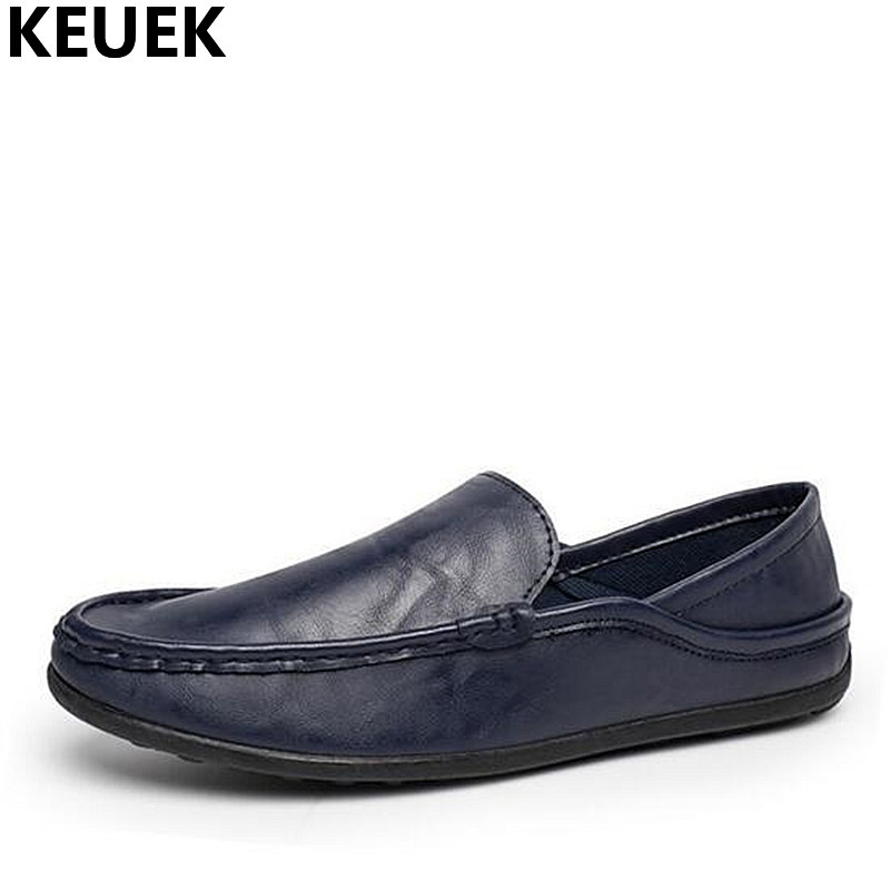 Spring Summer Men Casual Flats Breathable soft Leather Slip-On Loafers Male Boat shoes Black Comfortable driving shoes 01BB klywoo breathable men s casual leather boat shoes slip on penny loafers moccasin fashion casual shoes mens loafer driving shoes