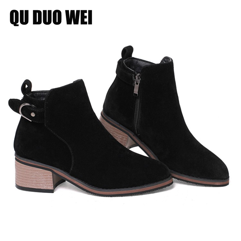 2018 Plus Size Autumn Winter Warm Fur Women Ankle Boots Fashion Sqaure High Heel Ankle Boots Woman Suede Leather Shoes Botas