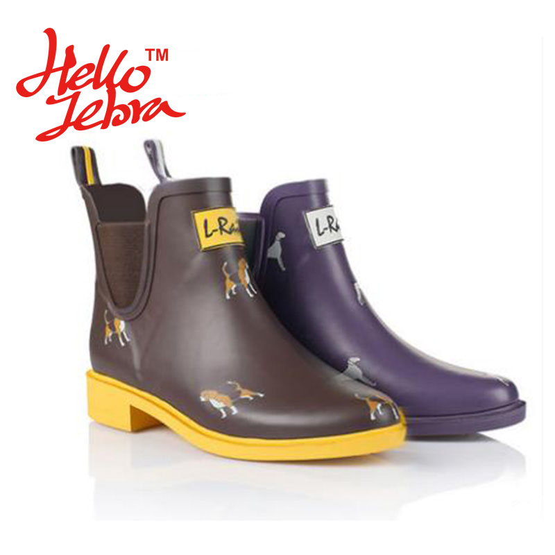ФОТО Women Fashion Printing Animals Rain Boots Ladies Charm Solid Rubber Low Heel Slip Waterproof Rainboots 2016 New Fashion Design