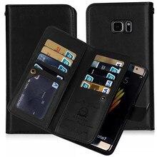 Ретро PU кожаный бумажник флип чехол для Samsung Galaxy S8 плюс S7 S6 край S5 Примечание 5 Чехол 2 в 1 Магнитный съемный 9 держатель карты