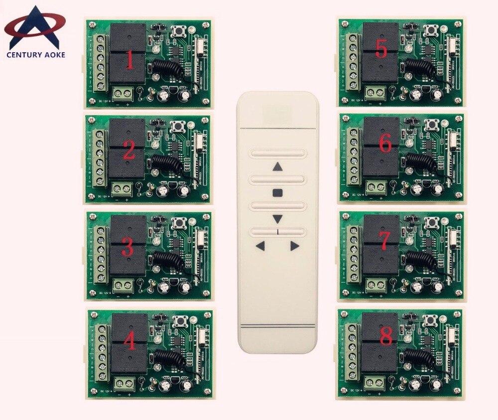 DC12V intelligent digital RF wireless remote control switch system + 8pcs receiver for projection screen/garage door/blinds 2 working ways rf wireless intelligent