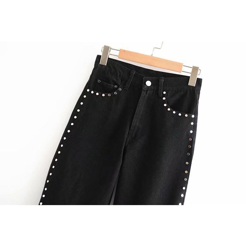 Pants Black Elyb Lady New Patchwork High Ltd1198395 Zipper Female Women Pencil Waist Vintage Rivet Vestidos Pockets Jeans BgxaxAqYw