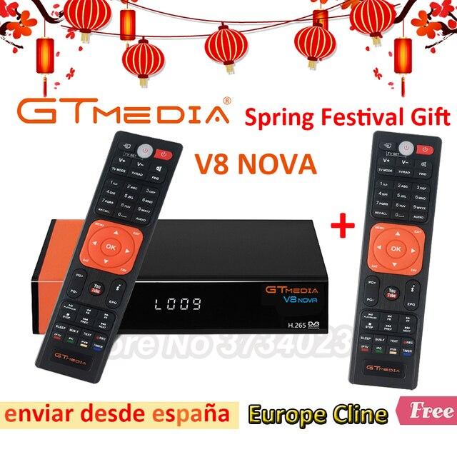 1 Year Europe Cline Genuine Freesat GTMedia V8 Nova Full HD DVB-S2 Satellite Receiver Same V9 Super Upgrade From V8 Super Deco