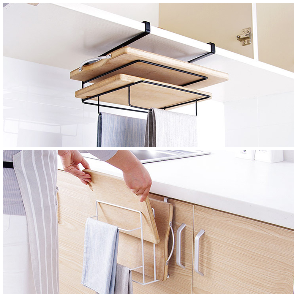 Kitchen Storage Holder Rack Towel Cutting Board Rack Stainless Steel Hanging Storage Shelf Rack Home Kitchen Storage Organizer