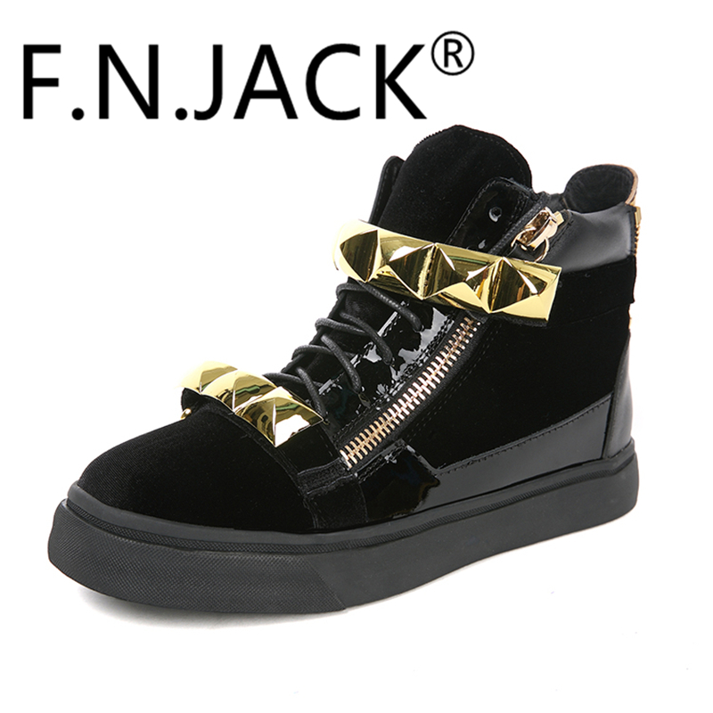 Fashion Shoes Men's Black Suede Gold Metal Zippered Sneakers F.N.JACK London Giant Stud Band Trainers zippered bootcut jeans