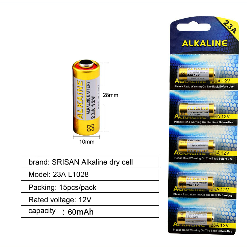 SRISAN New 5x card 15pcs Lot 23A12V Battery Small Battery 23A 12V 21 23 A23 E23A MN21 MS21 V23GA L1028 Alkaline Dry Battery in Primary Dry Batteries from Consumer Electronics