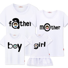 Family Matching mommy and me Clothes cotton Short sleeve father mother girl boy Family Look dress Mother Daughter Dresses(China)