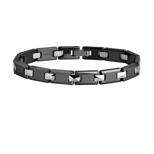 Men's Polished Shiny Hi-tech Black Ceramic + Tungsten Carbide Faceted Link Bracelet