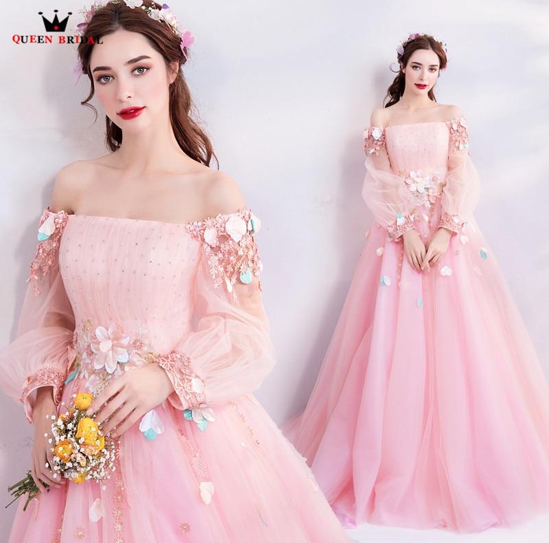 A-ligne à manches longues Tulle fleurs formelle rose élégant robes De soirée 2018 nouvelle Robe De soirée Robe De soirée Robe De soirée MT37