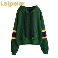 Laipelar striped hoodies harajuku 2018 New fashion Green Autumn Winner Womens Long Sleeve Hoodie Sweatshirt Hooded Pullover Tops