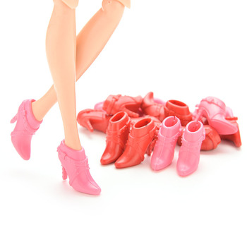TOYZHIJIA 10 Pairs fashion High Heels Shoes Mix Pairs cute Short Boots for Barbie Doll Accessories Color Random 2cm*2.5cm image