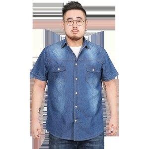 Image 4 - Chemises dété en Denim à manches courtes pour hommes, Streetwear Social Hombre Manga Corta 5XL, 6XL, 7XL, 8XL, grande taille Jeans décontractés