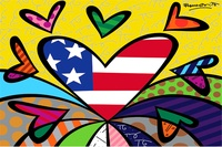 Romero Britto Paintings Posters Custom Canvas Art Kids Wallpaper Flag Hearts Romero Britto Wall Stickers RB