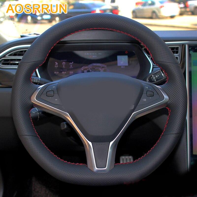 AOSRRUN accessoires De Voiture En Cuir cousu Main De Volant de Voiture Couvre Pour Tesla Model S X 2015 2016