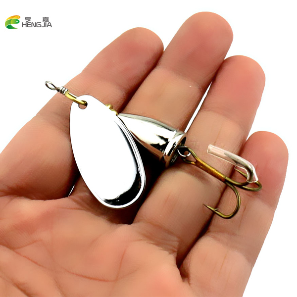 HENGJIA 5PCS 6.5CM-8.5G Metal Spinner Spoon Hard Bait Fish Treble Hook Perch Fishing Lures Tackle Vibration Hard Bait