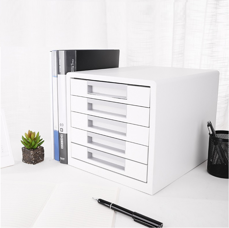 Japan Design File Cabinet with 5 Smooth Drawer / Made of Premium ABS Engineering Plastic /25.6cm High x 27.5cm Width x 34cm Deep