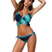Cross Sexy Push Up May Women Beach Swimwear Female Large Size 2017 Bikini Set Vintage Swimsuits