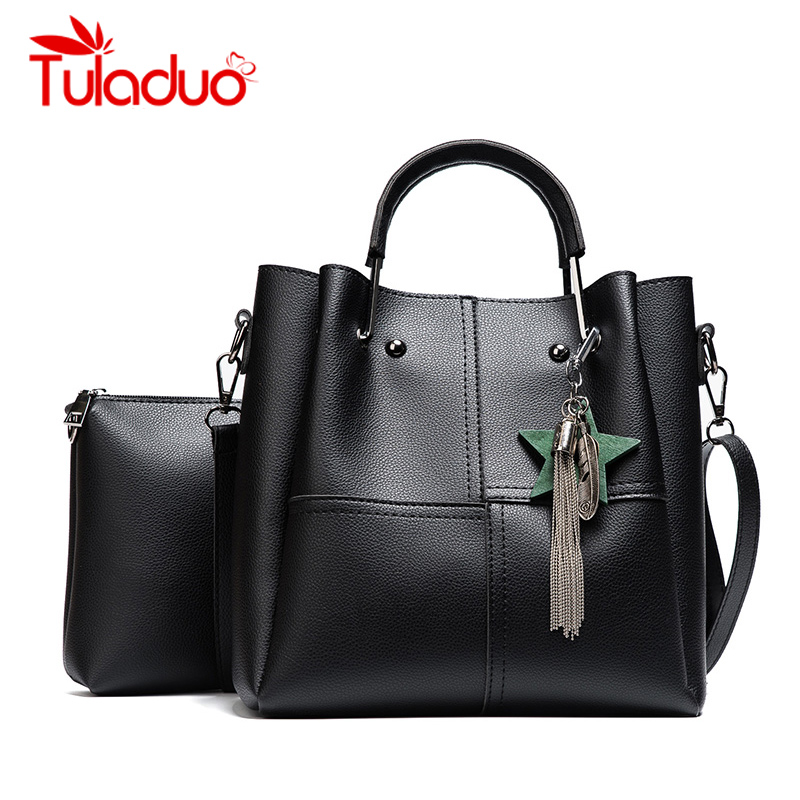 New Casual Tassel Women Bag PU Leather Composite Bags Famous Brand Ladies large Capacity With Messenger Bags Bolsa Feminina