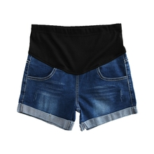 Summer fashion shorts pregnant women denim curling holes pants stretch belly clothes maternity