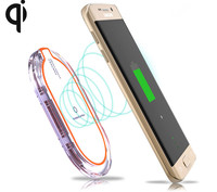 Transparante crystal oval 3 coils breder opladen gebied qi draadloze mobiele telefoon oplader voor samsung s6 s6 edge voor iphone