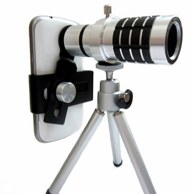 fc1b3238447fa8 GOESTIME Clip 12X Optical Mobile Phone Camera Lens For iphone For Samsung  With Tripod Fish Eye Lens 12x Mobile Phone Camera Lens