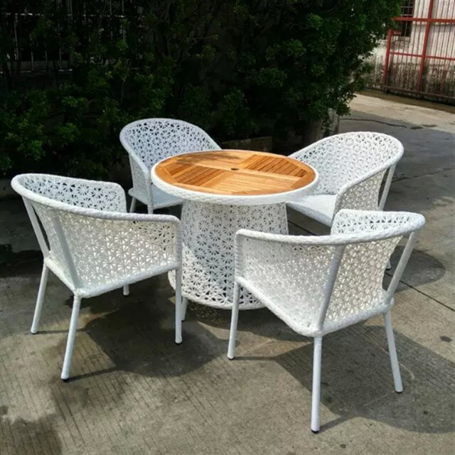 set of 5pcs Outsunny Table and Chair Rattan Wicker Patio Furniture